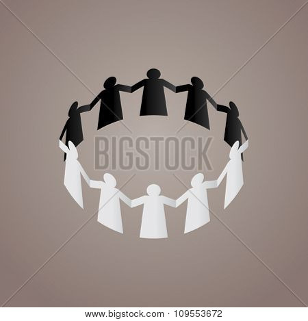 'Teamwork' concept. Paper figure of UAE nationals holding hands. Vector illustration.