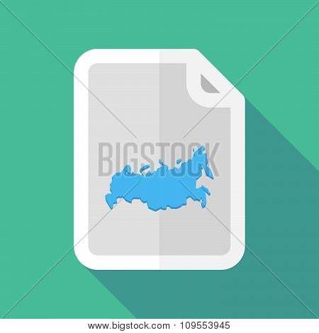 Long Shadow Document Vector Icon With  A Map Of Russia