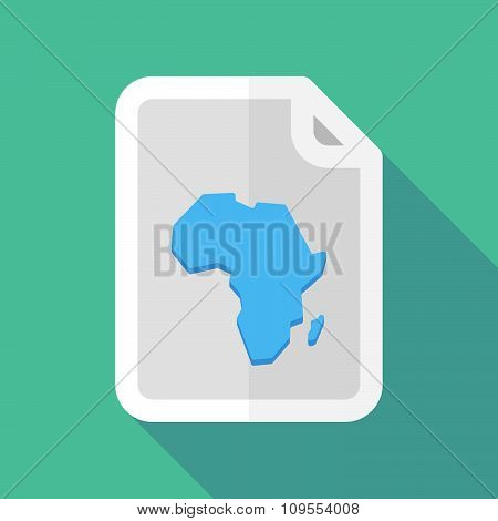 Long Shadow Document Vector Icon With  A Map Of The African Continent