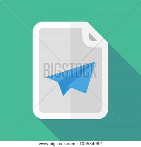 Long Shadow Document Vector Icon With A Paper Plane