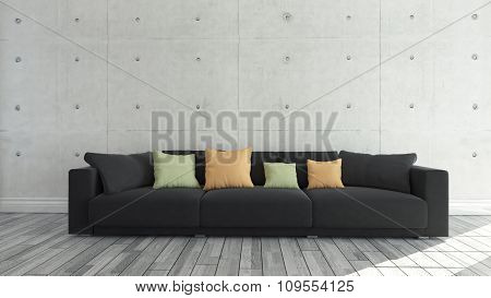 Black Cloth Sofa With Concrete Wall, Background, Template Design 3D Rendering