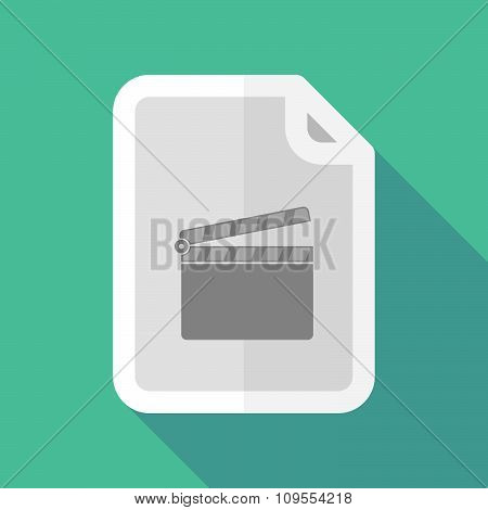 Long Shadow Document Vector Icon With A Clapperboard