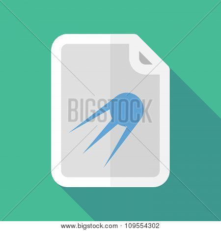 Long Shadow Document Vector Icon With A Vintage Satellite