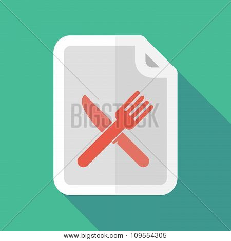Long Shadow Document Vector Icon With A Knife And A Fork