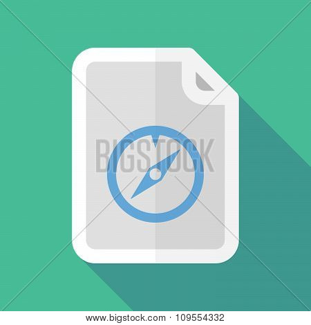 Long Shadow Document Vector Icon With A Compass