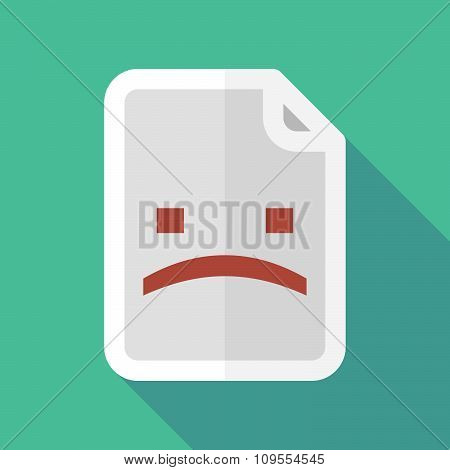 Long Shadow Document Vector Icon With A Sad Text Face