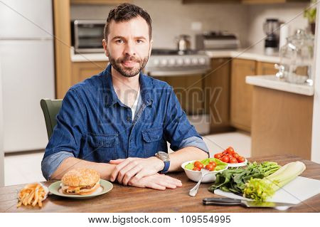 Man Deciding What To Eat