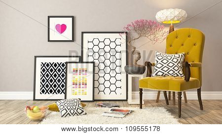 Yellow Bergere, Background, Template Design 3D Rendering