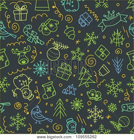 Christmas seamless pattern. Xmas hand-drawn elements