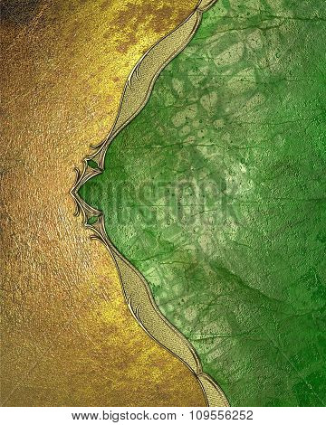 Yellow Grunge Edge On A Green Background. Element For Design. Template For Design.
