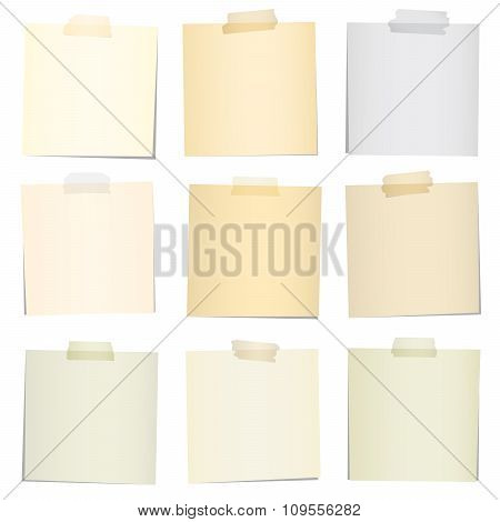 Set of various colorful note papers with adhesive tape on white background