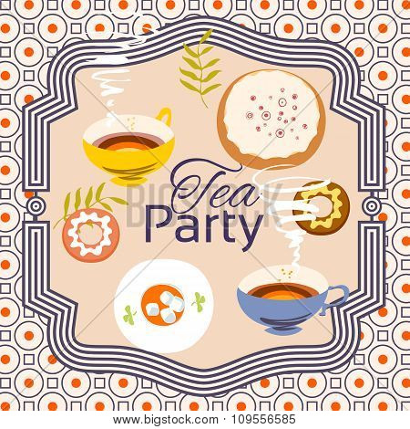 Tea Party Invitation Card. Frame Over Pattern Background, Colorful Illustration