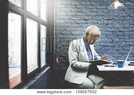 Businesswoman Thinking Planning Strategy Working Laptop Concept