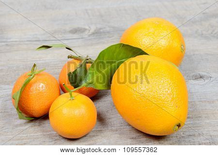Assortments Of Tangerines And Oranges