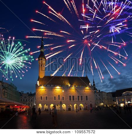 Fireworks celebrating over the Town hall square. Tallinn. Estonia.