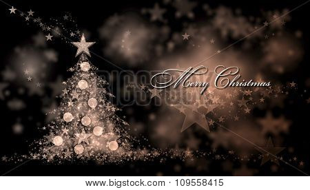 Merry Christmas. Brown Background With A Christmas Tree And Merry Christmas Text