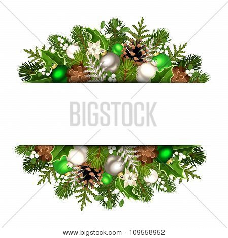 Christmas banner with green and silver fir branches, balls, cones, holly and mistletoe. Vector eps-1
