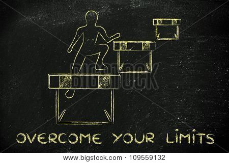 Person Successfully Jumping Over Obstacles, With Text Overcome Your Limits