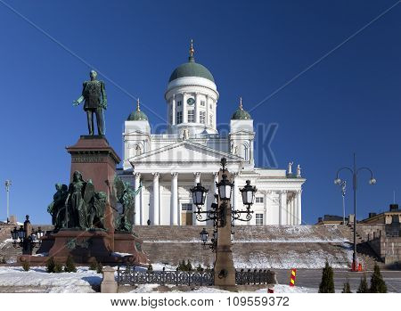 Lutheran cathedral and monument to Russian Emperor Alexander II in Helsinki Finland