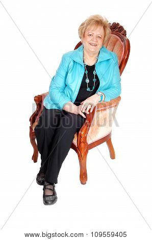 Lovely Older Woman In Armchair.