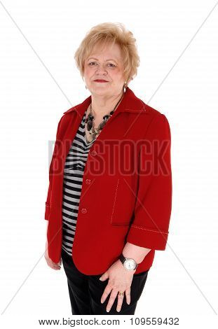 Older Woman In Red Jacket.