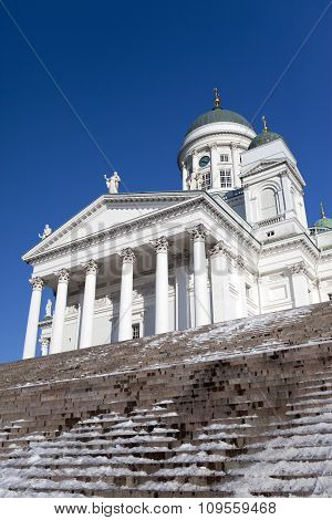 Lutheran cathedral in Helsinki Finland in a sunny day