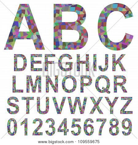 Multicolor mosaic font set