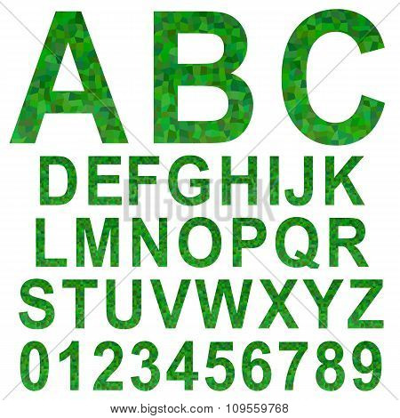 Green rectangle mosaic textured font set