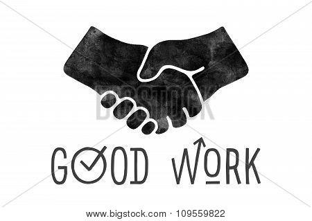 Navigation Signs. Black Hands Silhouettes Doing Handshake. Vector Illustration.