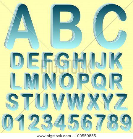 Blue isometric 3D font set