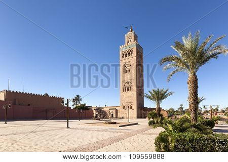 Minaret and square of Koutoubia mosque at Marrakesh, Morocco