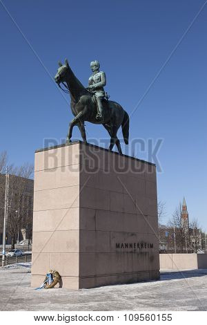 HELSINKI FINLAND - MARCH 17 2013: The equestrian statue of the Marshal Mannerheim (1867-1951) Finnis