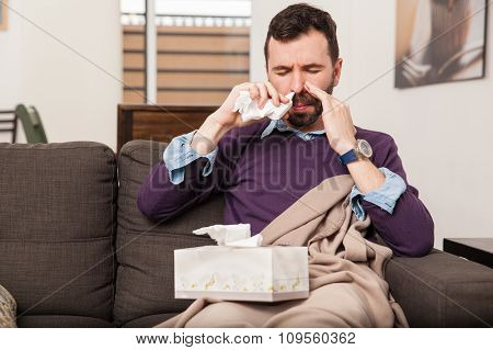 Man Using Some Nasal Spray