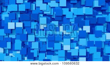 3D Blue Area Background Cube Abstract Pattern