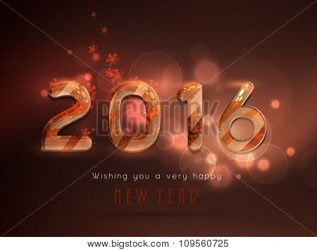 Shiny greeting card design with stylish text 2016 on snowflakes decorated background for Happy New Year celebration.