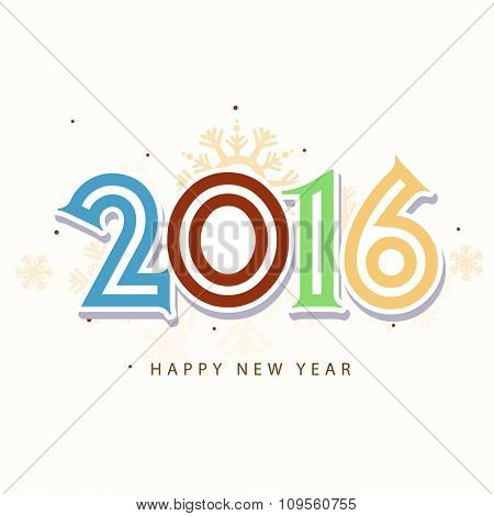 Colorful stylish text 2016 on snowflakes decorated background for Happy New Year celebration.