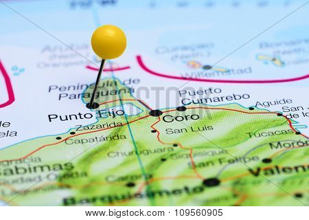 Punto Fijo pinned on a map of America