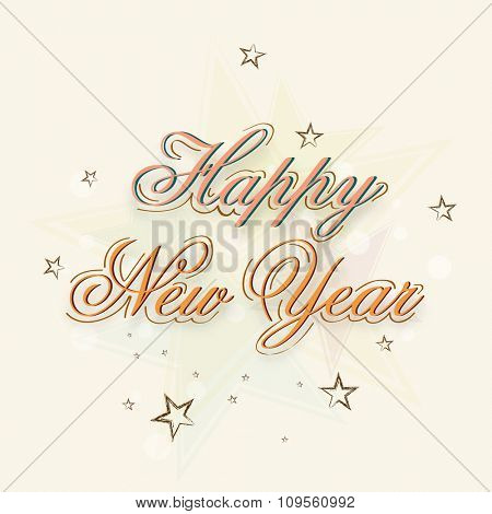 Creative stars decorated beautiful greeting card design for Happy New Year celebration.