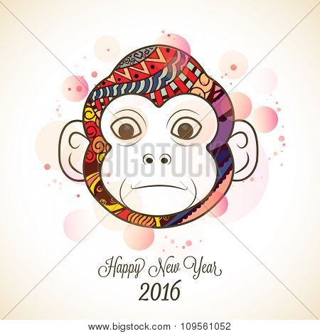 Creative Monkey face with floral design for Chinese New Year 2016 celebration.