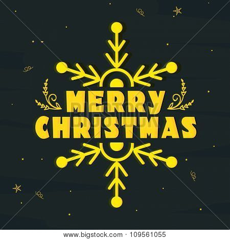 Elegant greeting card design decorated with snowflake for Merry Christmas celebration.