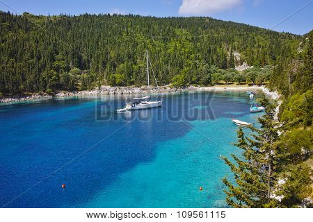 Blue waters of Foki Fiskardo Beach, Kefalonia