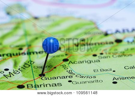 Guanare pinned on a map of America