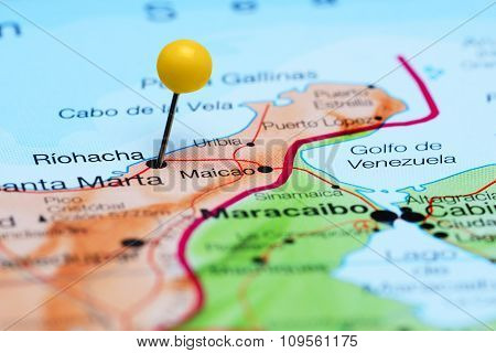 Riohacha pinned on a map of America