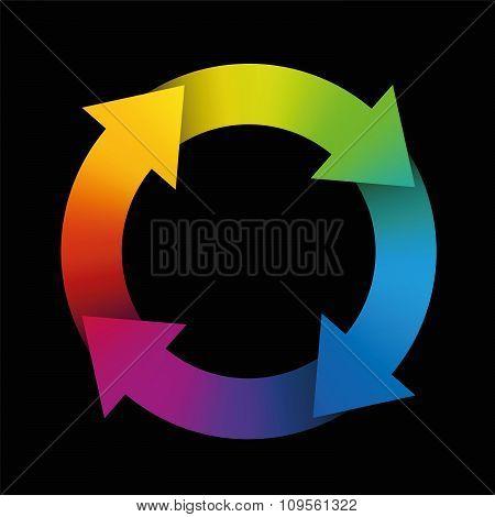 Spinning Arrows Rainbow Gradient Black