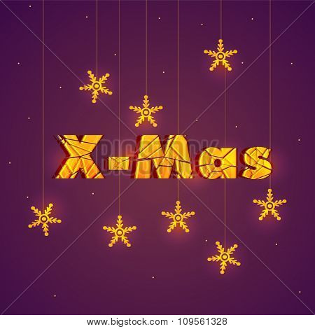 Elegant greeting card design with stylish text X-Mas and hanging snowflakes for Merry Christmas celebration.