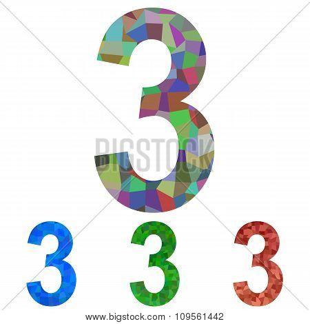 Mosaic number design - number 3