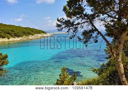 Blue waters of Emblisi Fiskardo Beach, Kefalonia, Ionian islands