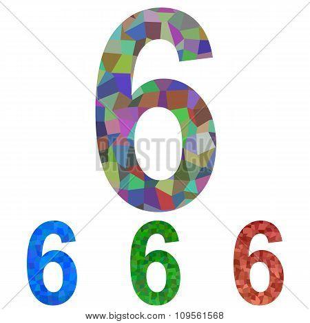 Mosaic font design set - number 6