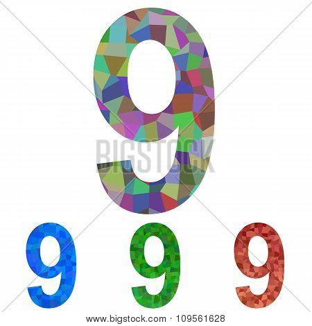 Mosaic font design set - number 9