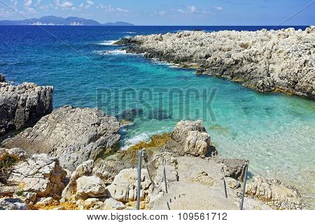 Blue waters  of Alaties Beach, Kefalonia, Ionian islands